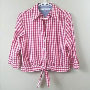 Tommy Hilfiger Red & White Gingham Tie Waist Shirt